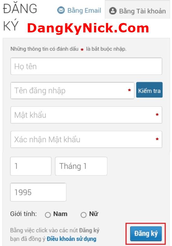 đăng ký zing id