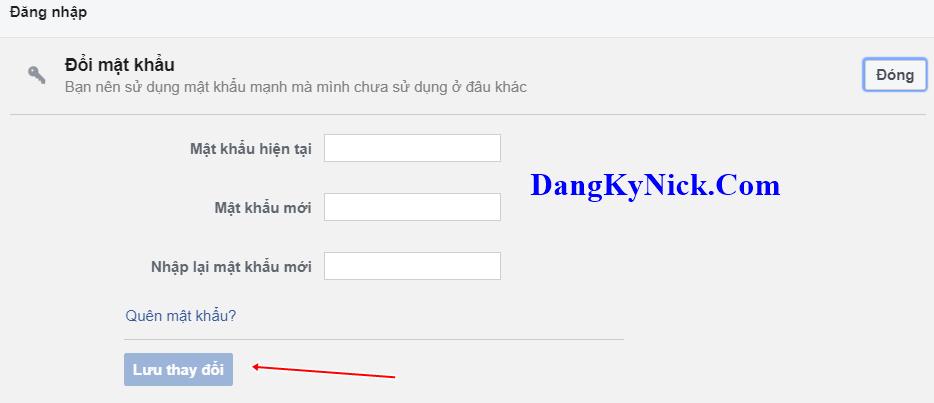 đổi mật khẩu free fire facebook