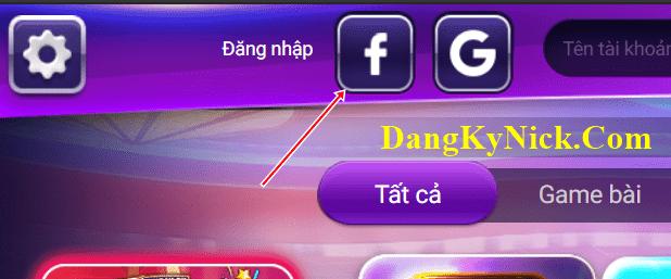 đăng nhập Gamvip bằng Facebook